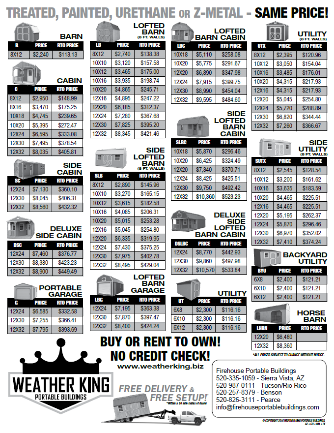 Weather King Price Sheet   Arizona Only